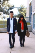 black coat - navy jeans - navy jeans - navy blazer - red scarf - black necklace