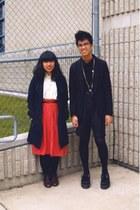 red thrift skirt - black H&M blazer - navy Forever 21 coat - ivory thrift blouse