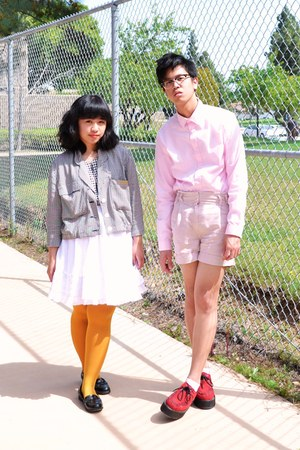 red creeper Demonia shoes - black gingham jacket - light pink H&M shirt - mustar