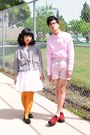 Red-creeper-demonia-shoes-black-gingham-jacket-light-pink-h-m-shirt-mustar