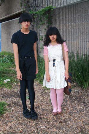 black shirt - black calvin klein shorts - black nike leggings - white Forever 21