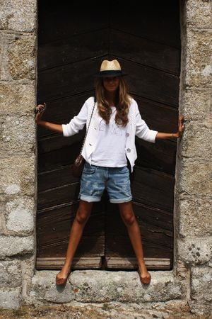 white surface to air t-shirt - white banana republicna cardigan - blue my lovely
