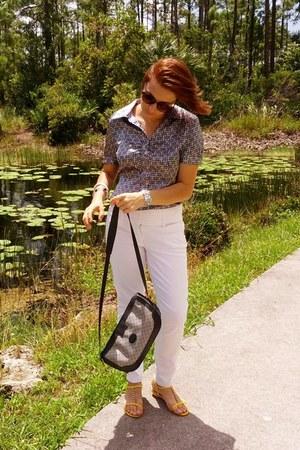 heather gray cotton Gucci bag - white cotton XOXO pants