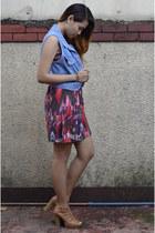 denim vintage vest - frilled korean brand dress - beige sm parisian heels