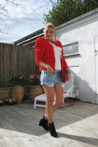 red H&M garden collection jacket - black Zara shoes - blue acne shorts - red Miu