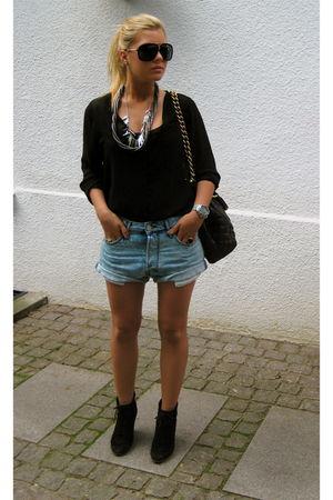 black H&M blouse - brown Marc Jacobs accessories - black Zara shoes - blue acne