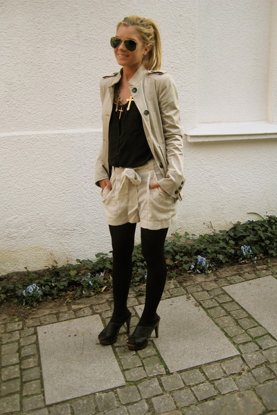 beige Zara jacket - Zara shoes - black H&M shirt