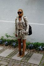beige H&M garden collection shorts - beige Zara shoes - beige Zara jacket - brow