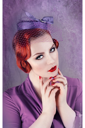 amethyst fascinator anna chocola hat