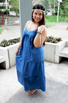 blue maxi dress Kamiseta dress - silver vintage sandals