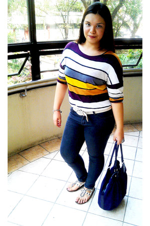 dark blue denim Forever 21 jeans - purple Payless bag - white Forever 21 belt