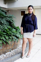 silver Forever 21 skirt - Forever 21 pumps - Zara cape - gifted necklace
