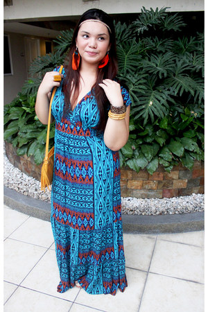 mustard vintage bag - blue maxi Forever 21 dress - mustard bangkok ring