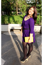 purple Forever 21 dress - mustard Forever 21 bag - Forever 21 earrings