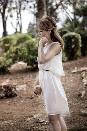 white Zara dress - dark khaki Mango bag - yellow Parfois belt