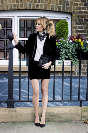 black Mango blazer - white Mango shirt - black Primark bag - black Office heels