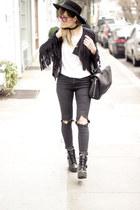 black Topshop jacket - off white Top Shop coat - black warehouse jeans