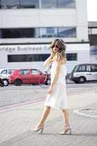 white Bershka pants - white Bershka top - heather gray asos heels
