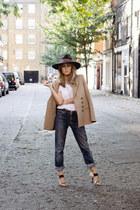 navy Levis jeans - navy H&M hat - mustard Zara blazer - ivory Zara shirt