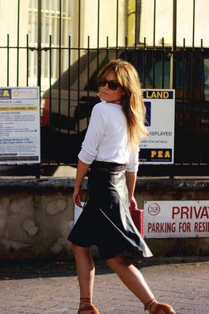white Zara shirt - dark brown Zara skirt - tawny H&M heels