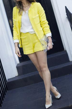 yellow Zara dress - white H&M shirt - white Zara heels