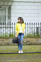 yellow H&M bag - periwinkle new look jeans - deep purple asos flats