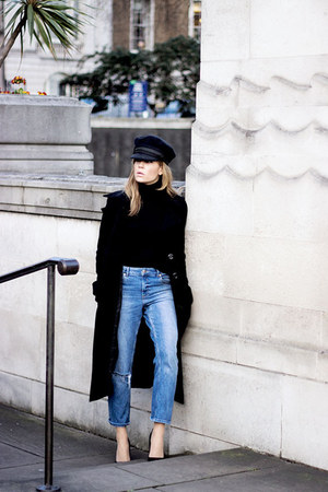 black Zara coat - navy asos jeans - black Massimo Dutti sweater