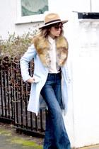 sky blue Fashion Union coat - bronze Massimo Dutti boots - navy Zara jeans
