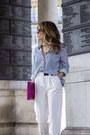 White-mango-blazer-navy-sheinside-shirt-white-topshop-pants
