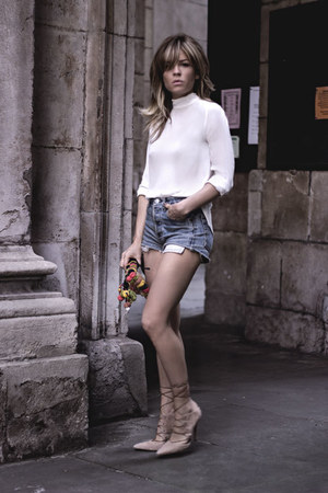 burnt orange manolita faldotas bag - navy Levis shorts - ivory Zara blouse