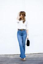 navy H&M jeans - ivory Massimo Dutti shirt - mustard Zara heels