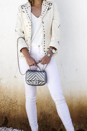 silver Zara bag - white Zara jeans - ivory vintage jacket - white Topshop top