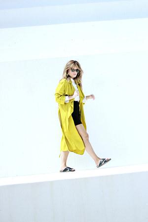 black Mango skirt - yellow Zara coat - white Urban Outfitters shirt
