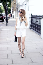 white Zara dress - black Bimba & Lola bag - black hm sandals