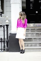 hot pink Zara blouse - white Zara skirt - black Zara heels