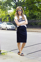 black Zara skirt - white Primark shirt - black H&M sandals