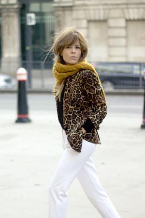 mustard hm sweater - gold Zara blazer - ivory Topshop pants - black Office heels