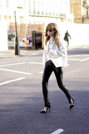 black Mango pants - ivory Zara jacket - white Topshop shirt