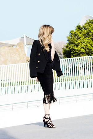 black asos skirt - black Zara blazer - black H&M heels