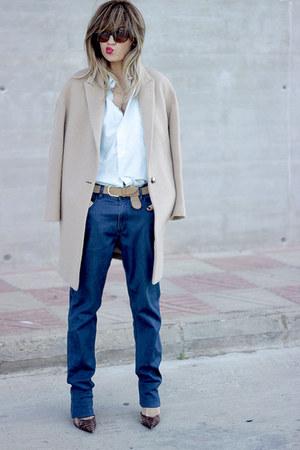 tan Massimo Dutti coat - navy Quiksilver jeans - light blue Hugo Boss shirt