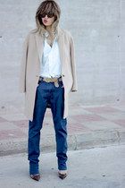 tan Massimo Dutti coat - navy Quiksilver jeans - light blue Hugo Boss shirt