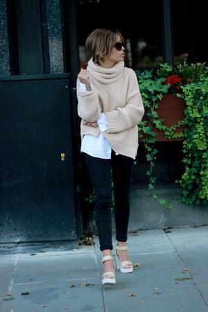 neutral Zara sweater - black asos jeans - neutral zar heels