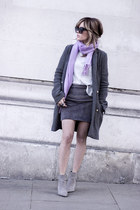 heather gray Zara coat - silver H&M sweater - heather gray warehouse skirt