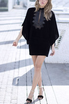 black Zara cape - black Mango skirt - black Mango heels