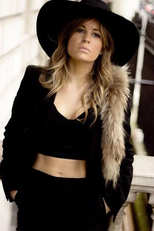 black H&M hat - black Zara blazer - beige Topshop scarf - black new look top