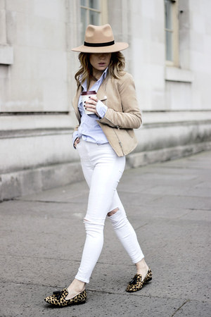 light blue Massimo Dutti shirt - white Topshop jeans - beige H&M jacket