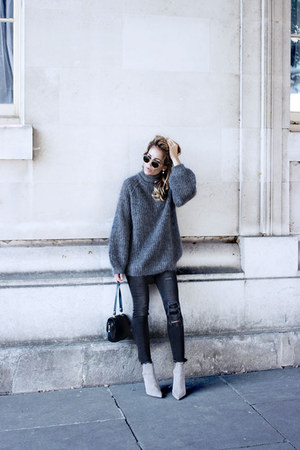 charcoal gray H&M jeans - heather gray COS sweater - silver Zara heels