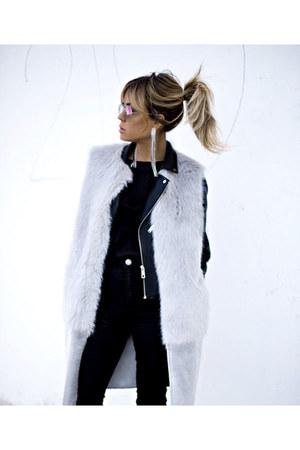 black Zara jacket - black asos jeans - silver Topshop vest