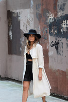 H&M coat - Zara boots - H&M hat - Topshop top - River Island skirt