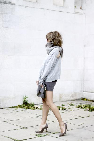 heather gray warehouse skirt - heather gray Zara sweater - silver Topshop heels